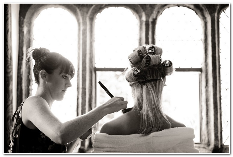 Bridal makeup at Boringdon Hall